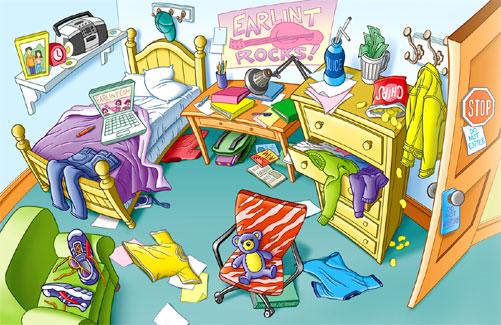 rommelige kamer van een puber opruimen door gesprekken en afspraken te maken